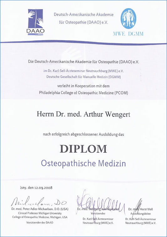 Osteopathie Diplom